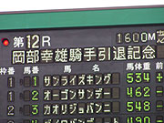 岡部幸雄騎手引退記念競走の電光掲示板の写真