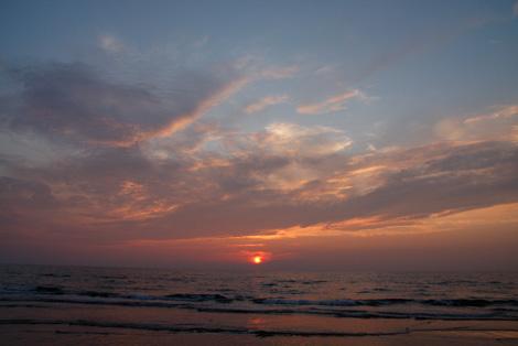 千里浜の夕焼けの写真