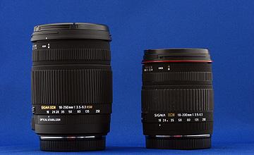 左18-250mm F3.5-6.3 DC OS HSM・右18-200mm F3.5-6.3 DCの写真